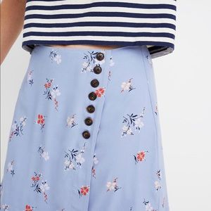 Madewell Side Button Floral Mini Skirt